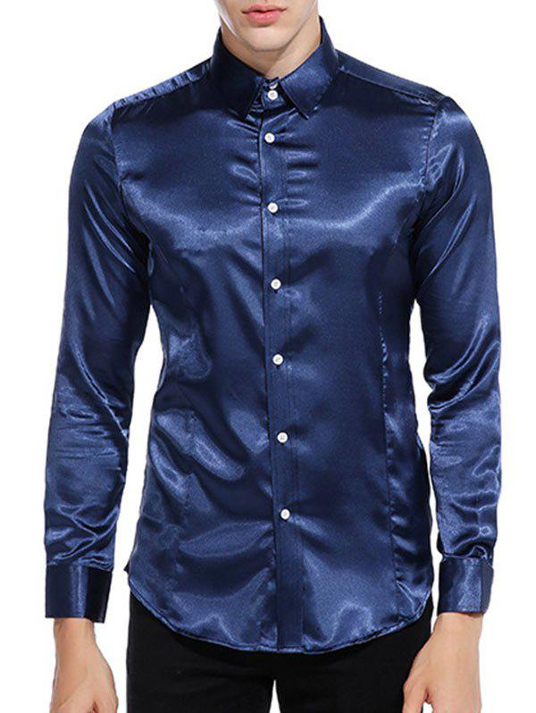 Store Button Up Long Sleeves Satin Shirt