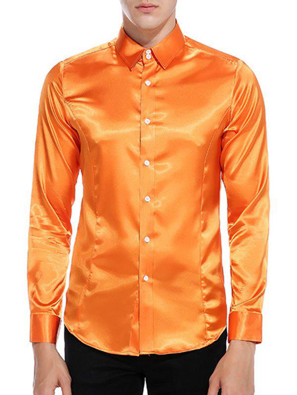 Fashion Button Up Long Sleeves Satin Shirt