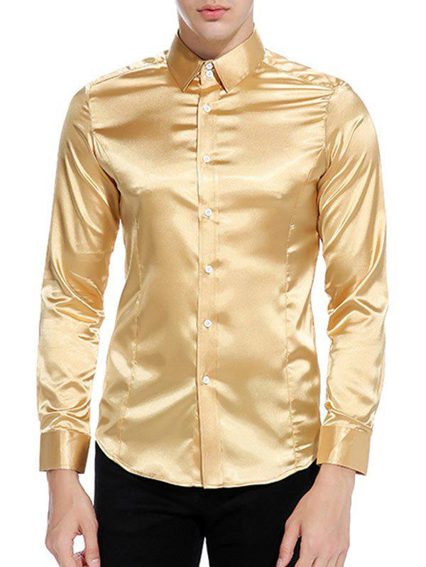 Latest Button Up Long Sleeves Satin Shirt