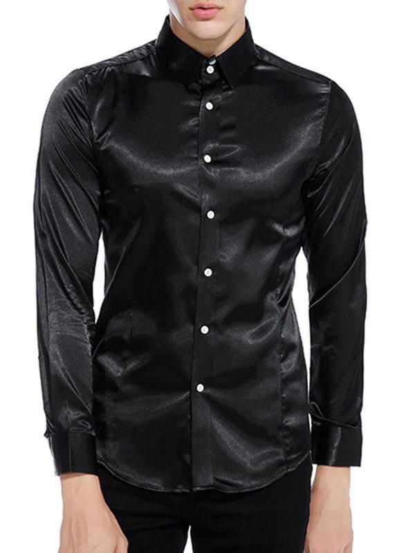 Fancy Button Up Long Sleeves Satin Shirt