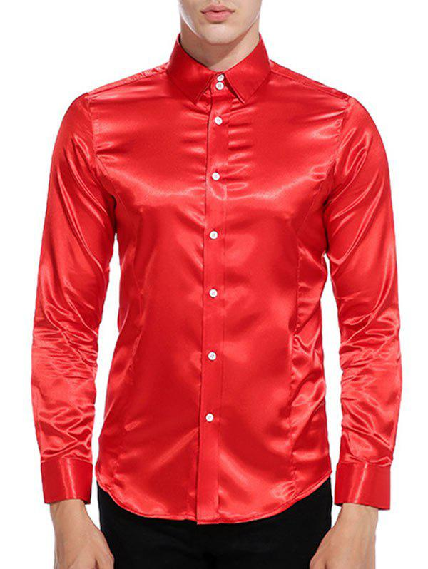 Hot Button Up Long Sleeves Satin Shirt