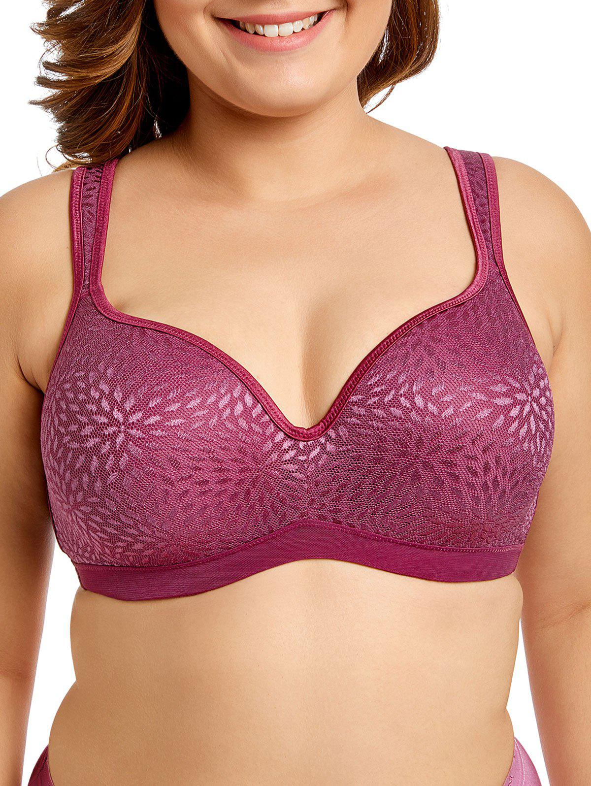 Trendy Lace Panel Plus Size Bra