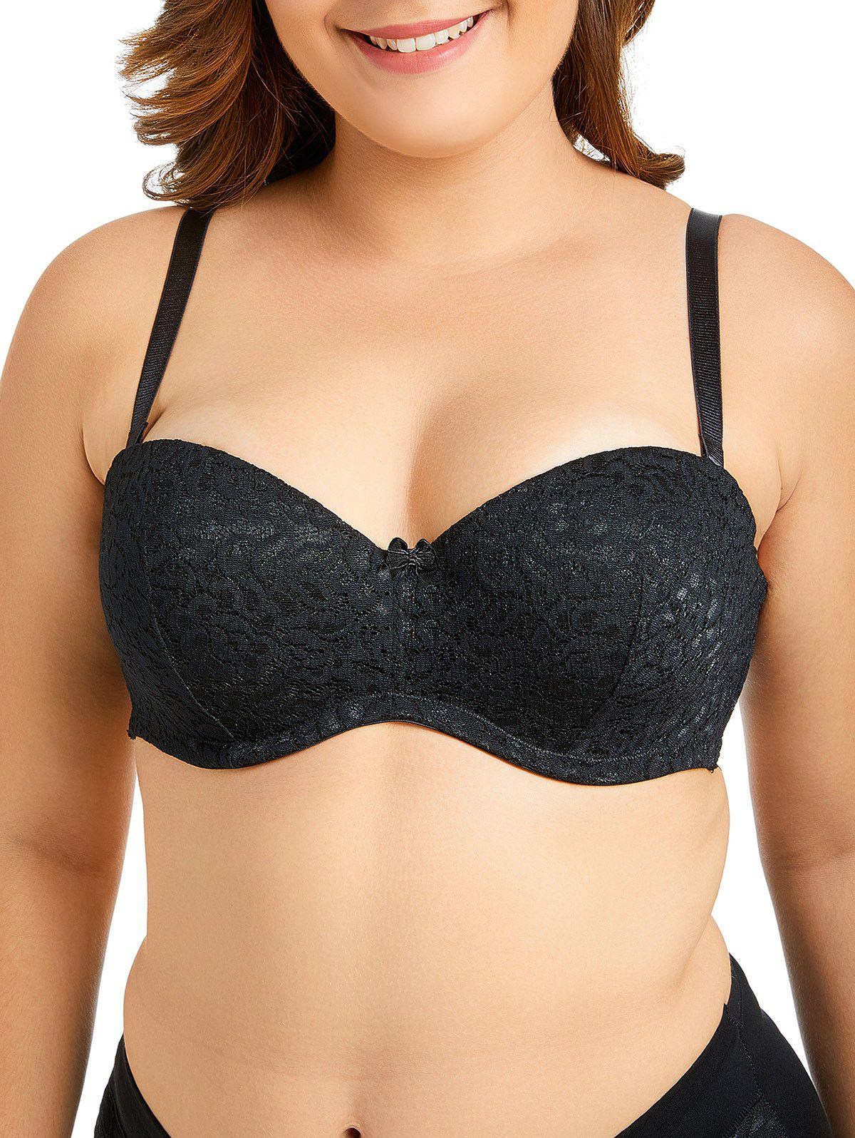 Shop Plus Size Bowknot Lace Bra