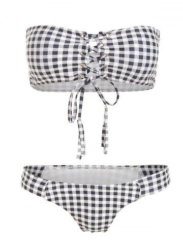 Strapless Lace Up Checked Bikini Set