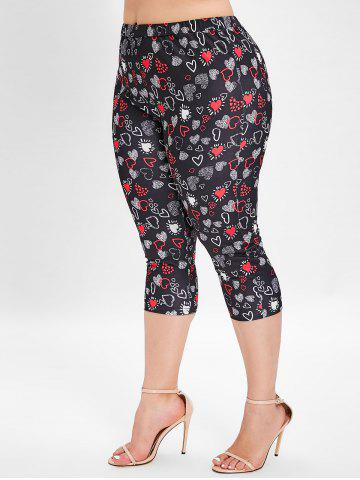 Plus Size Heart Print Skinny Leggings