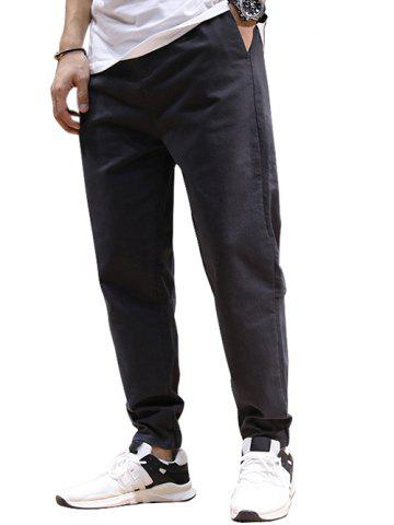 Drawstring Patched High Waisted Joggers Pants - ASH GRAY - 2XL