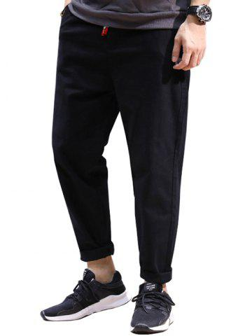 Drawstring Patched High Waisted Joggers Pants