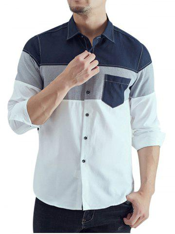 Color Block Chest Pocket Long Sleeve Shirt