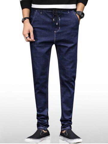 Drawstring Zip Fly Pocket Denim Jeans