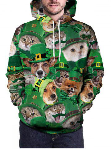 Pullover 3D Cat And Dog Print Hoodie