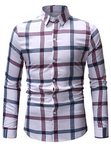 Checked Print Botton Up Long Sleeve Shirt