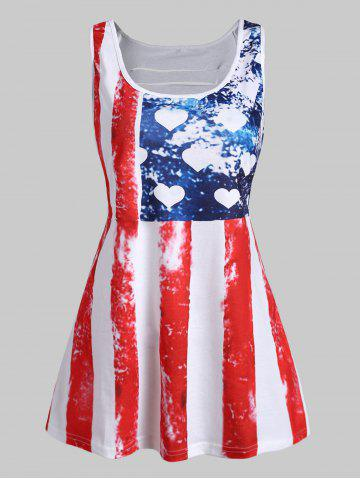 Plus Size American Flag Lace Panel Tank Top