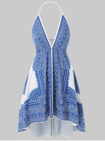 Plus Size Plunge Open Back High Low Swim Top