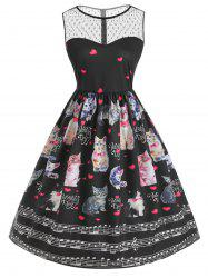 Mesh Panel Cat Print Valentine Flare Dress -