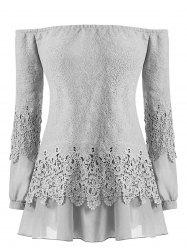 Plus Size Lace Panel Off Shoulder Blouse -