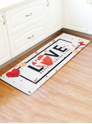 Valentines Day LOVE Heart Pattern Water Absorption Area Rug -
