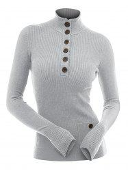Half Button Mock Neck Pullover Knitwear -