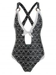 Cut Out Bowknot Criss Cross One Piece Swimsuit -