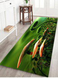 Fern and Mushroom Pattern Water Absorption Area Rug -