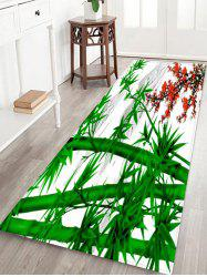 Bamboo and Flowers Pattern Water Absorption Area Rug -