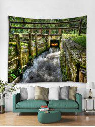 Forest Small Bridge Scenery Print Wall Art Tapestry -