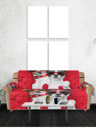 Glasses Dog Pattern Couch Cover -