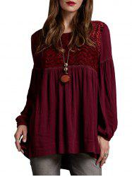 Velvet Panel Crinkle Blouse -