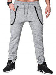 Zippers Solid Color Casual Jogger Pants -