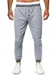 Striped Buttons Casual Drawstring Jogger Pants -
