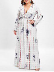 Plunging Neck Plus Size Printed Maxi Dress -