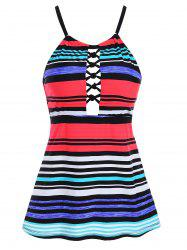 Hollow Out Striped Swim Top -