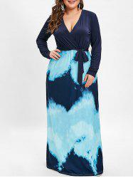 Plunging Neck Plus Size Tie Dye Maxi Dress with Belt -