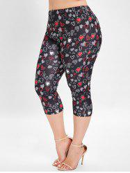 Plus Size Heart Print Skinny Leggings -