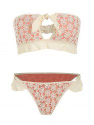 Strapless Lace Crochet Cut Out Bikini Set -