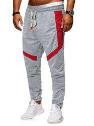 Zippers Straight Elastic Drawstring Sports Pants -