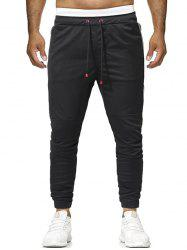 Zipper Pockets Panel Drawstring Jogger Pants -