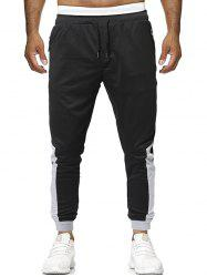 Elastic Drawstring Contrast Color Jogger Pants -