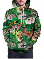 Pullover 3D Cat And Dog Print Hoodie -