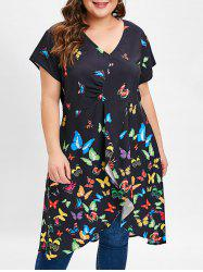 High Low Plus Size Butterfly Print Long Top -