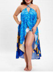 Plus Size Feather Print Halter Neck Cover Up -