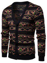 Ethnic Style Pattern Front Button Cardigan -