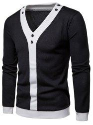 Contrast Placket Patchwork Button Embellished Pullover Thin Sweater -