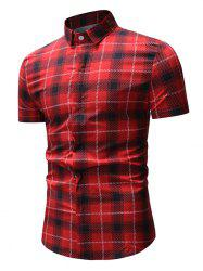 Short Sleeve Plaid Pattern Button Up Shirt -