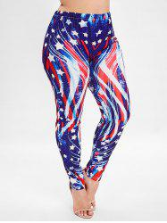 American Flag Print Plus Size Leggings -
