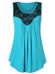 Plus Size Lace Panel Flare Tank Top -
