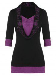 Lace Insert Two Tone Cowl Front Plus Size T-shirt -