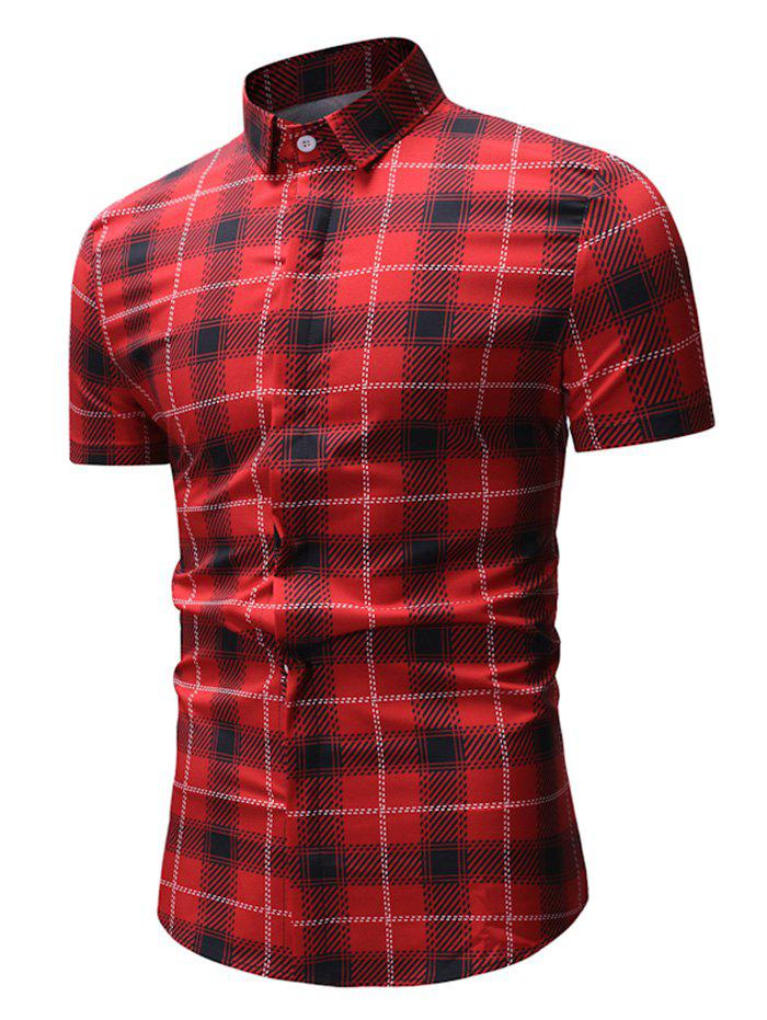 Online Short Sleeve Plaid Pattern Button Up Shirt