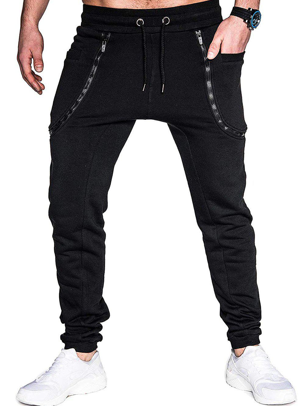 Store Zippers Solid Color Casual Jogger Pants