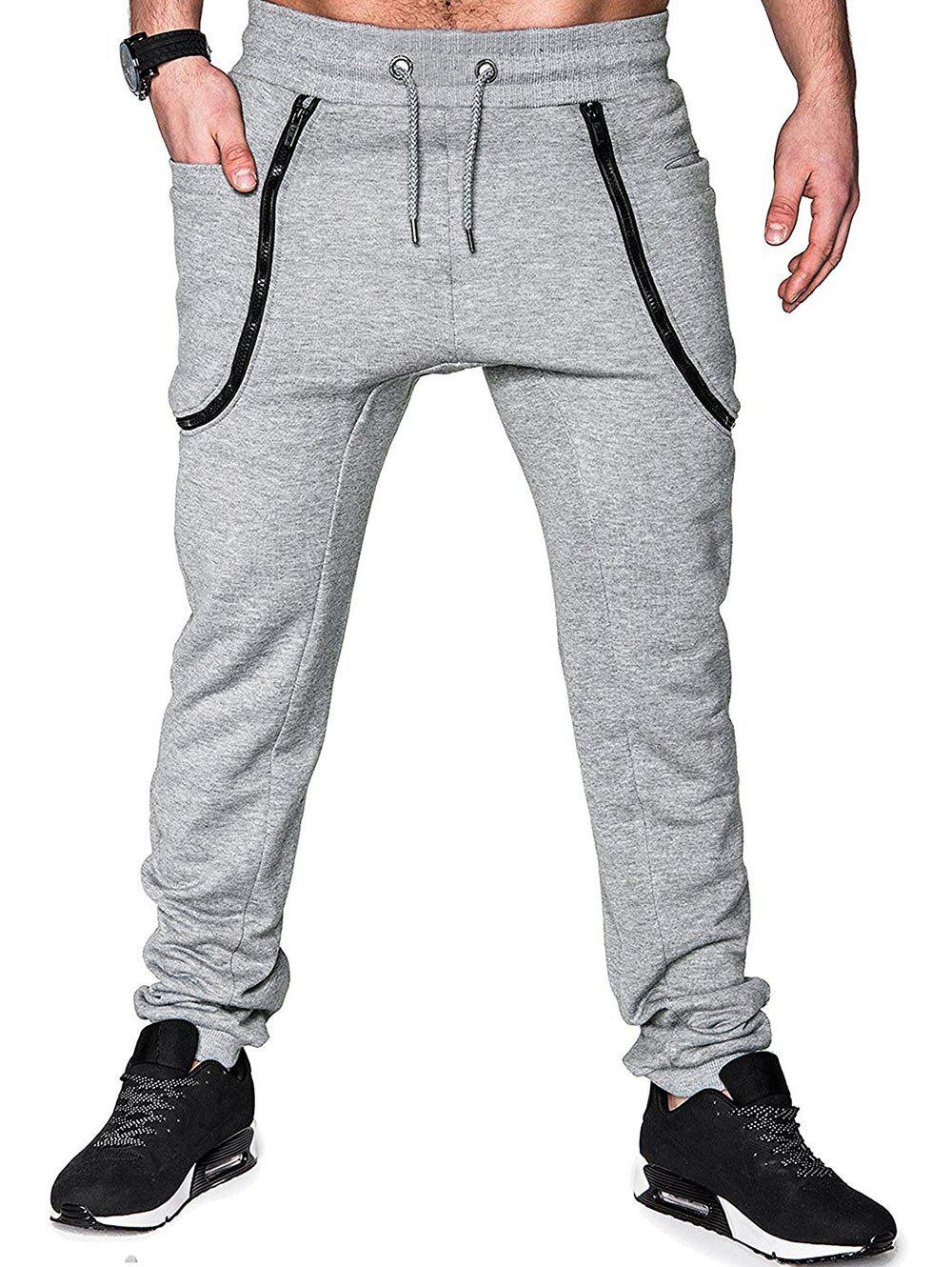 Buy Zippers Solid Color Casual Jogger Pants