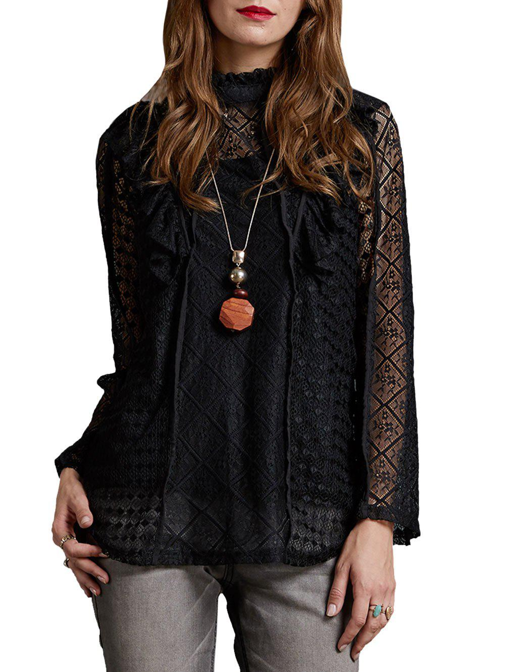 Best Lace See Thru Ruffle Neck Blouse